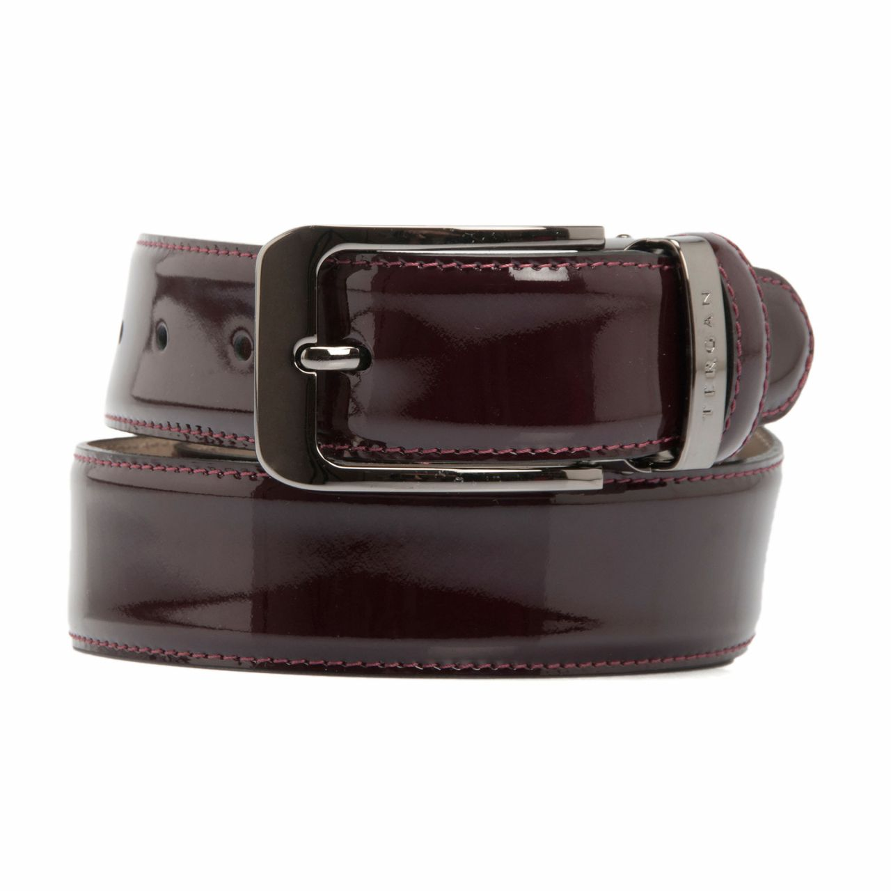 Luxury men's belt natural lacquer - burgundy