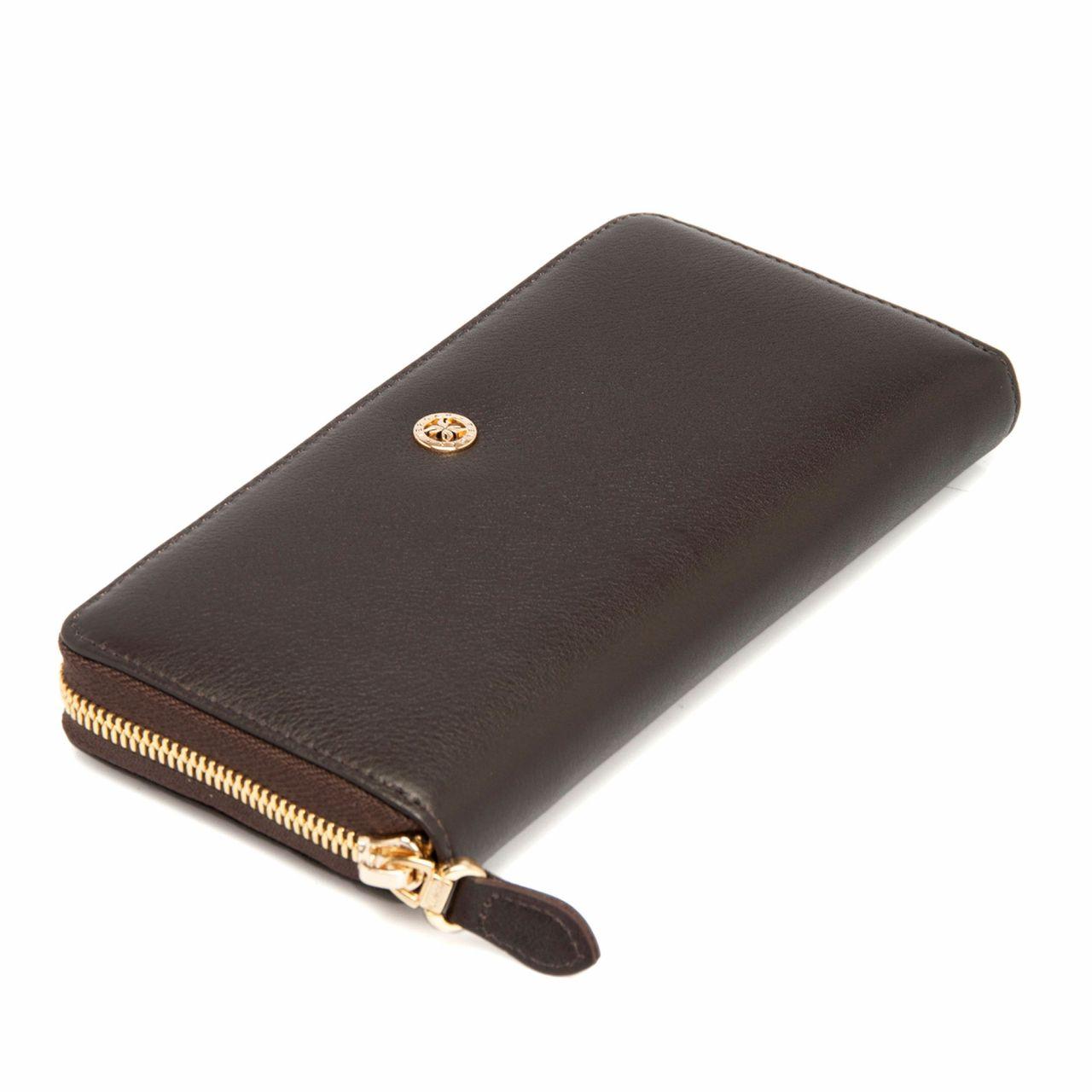 Кафяво дамско портмоне с цип