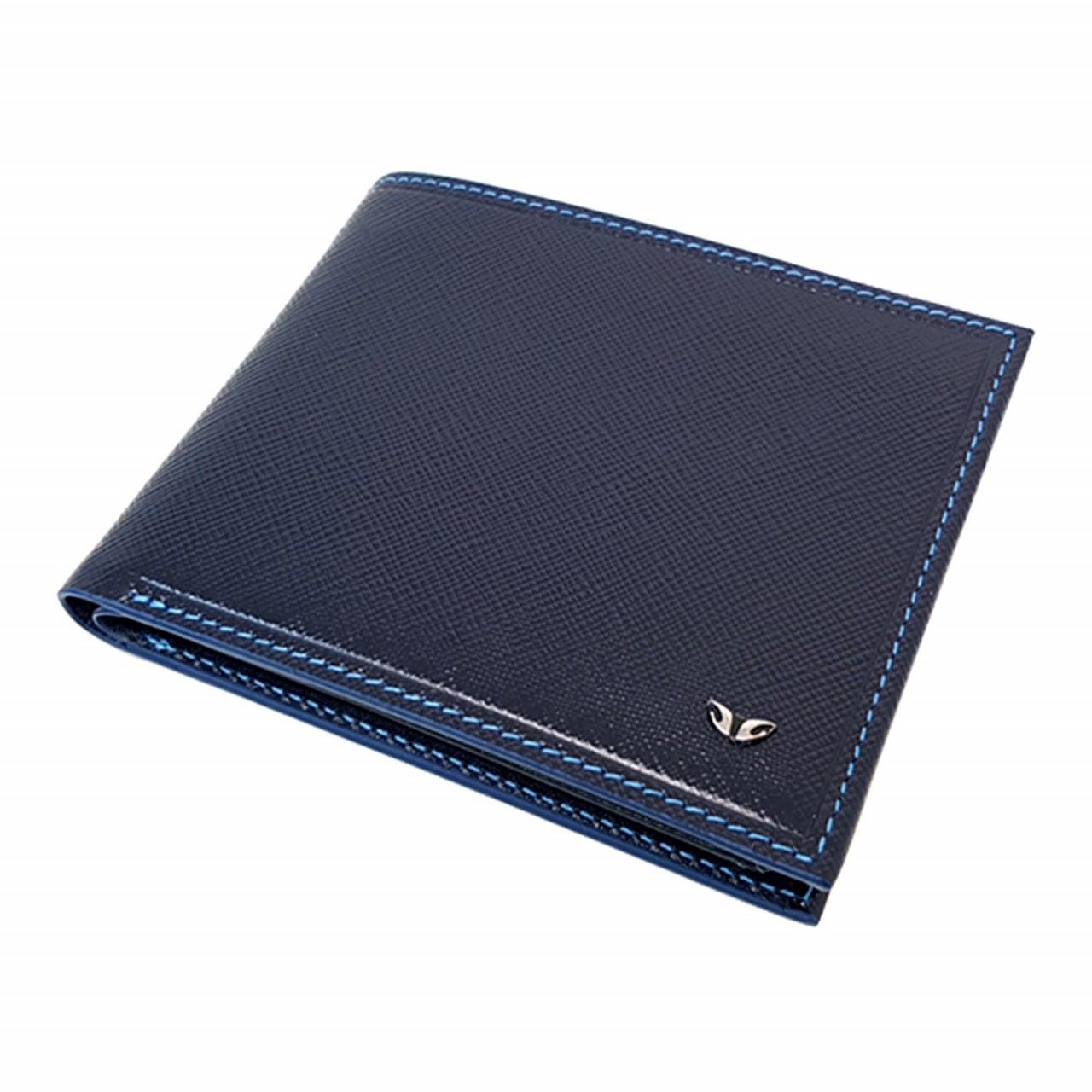 Stamped leather wallet in blue