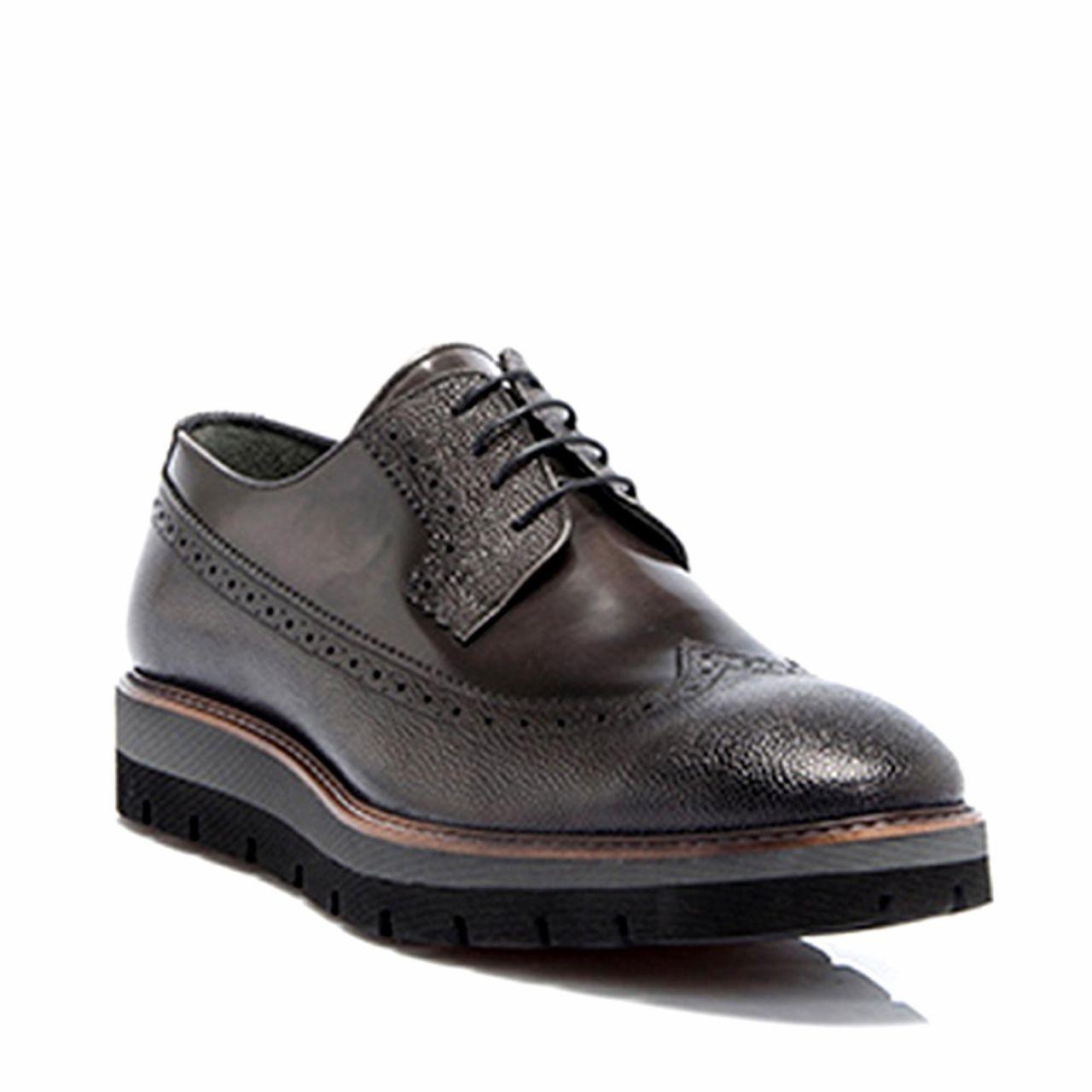 Тъмносиви мъжки  обувки на платформа от естествена кожа