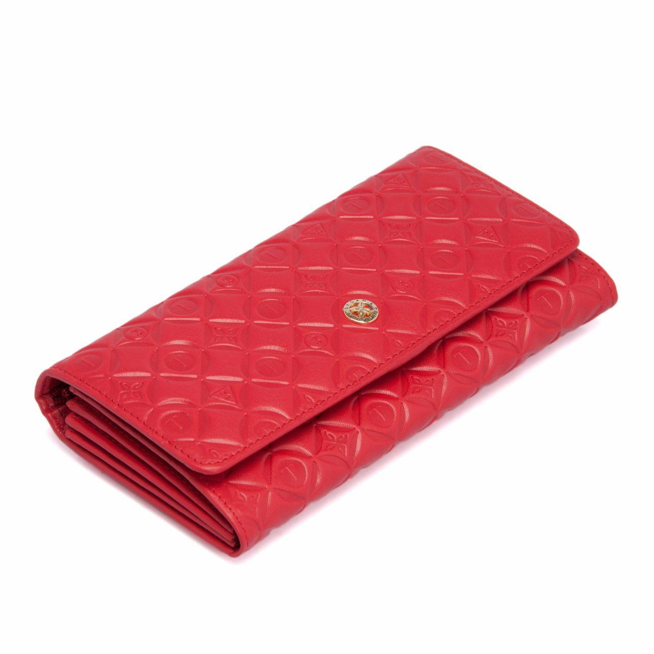 Червено женско портмоне от естествена кожа