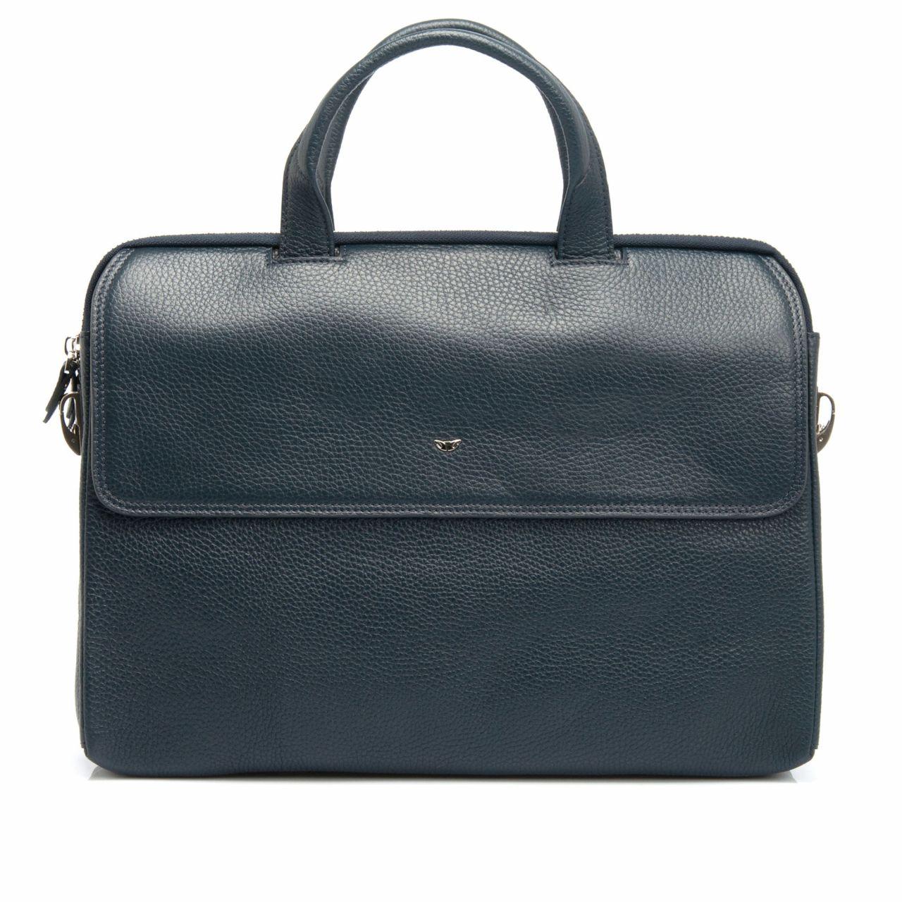 Стилна мъжка чанта от черна телешка кожа