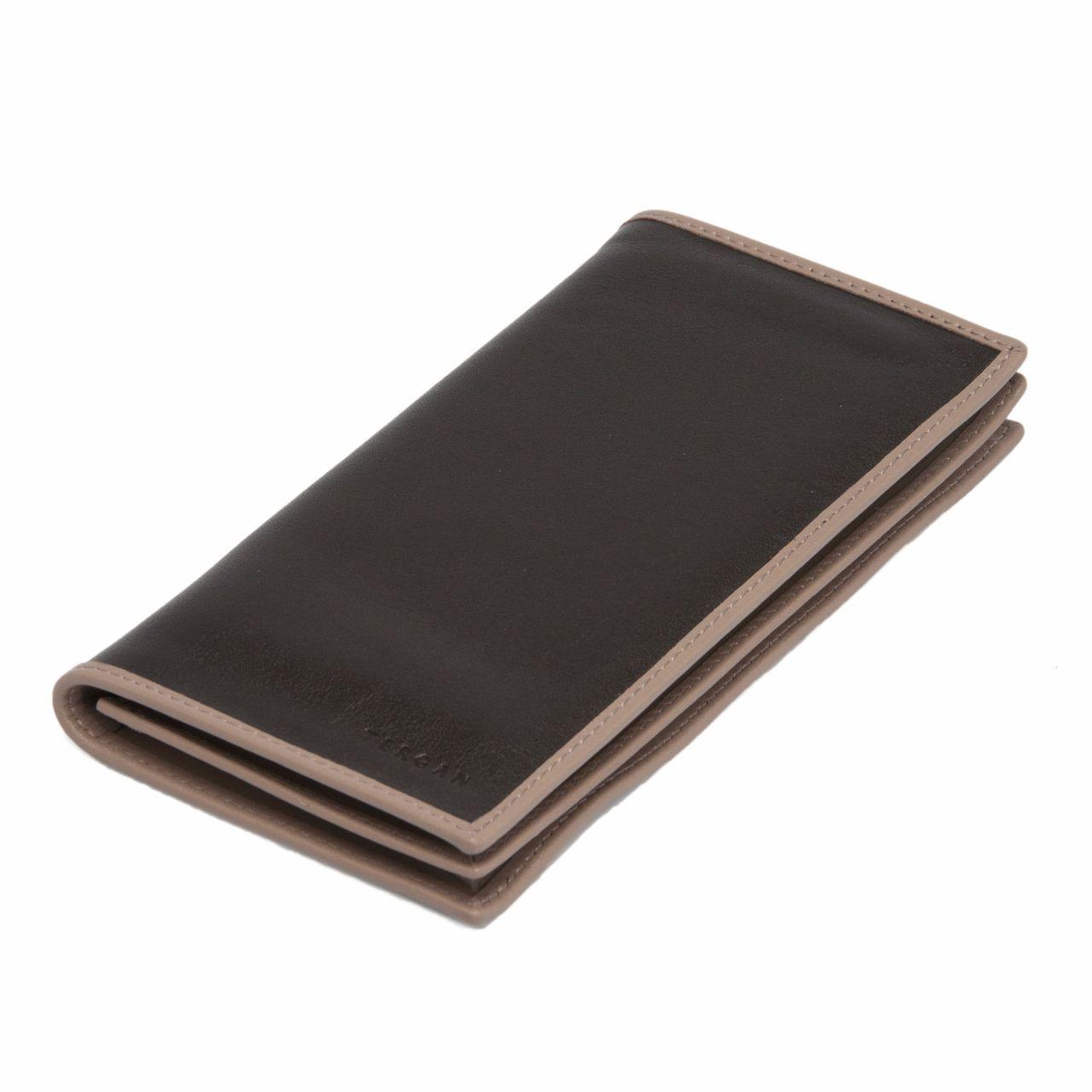 Мъжки портфейл в тъмнокафяво с пясъчно сив кант