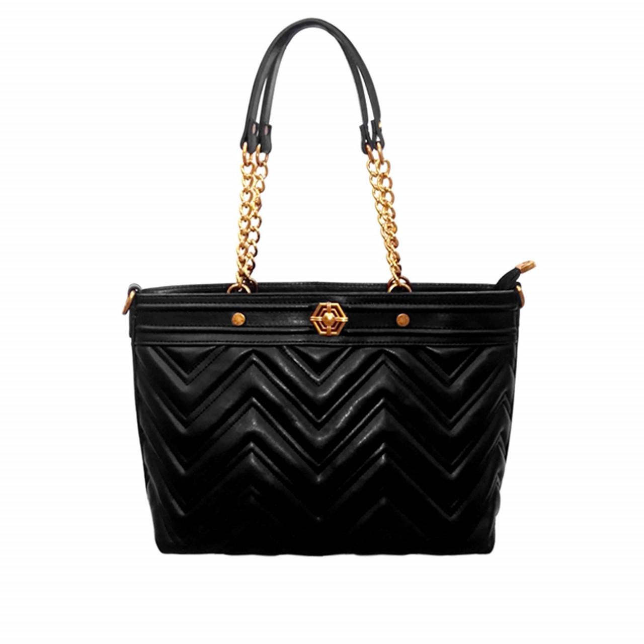 Черна дамска чанта с две дръжки