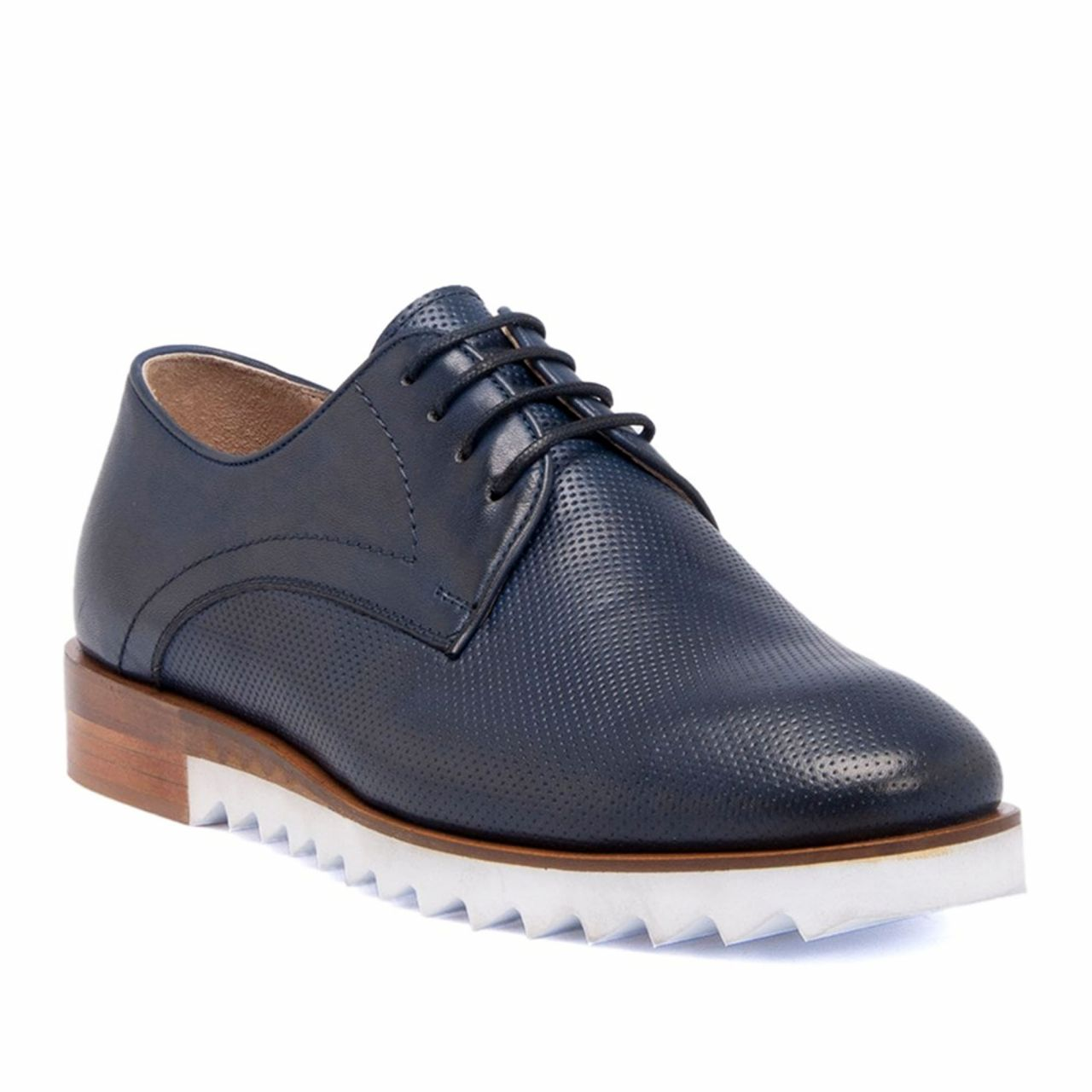 Blue Perforated Genuine Leather Shoes