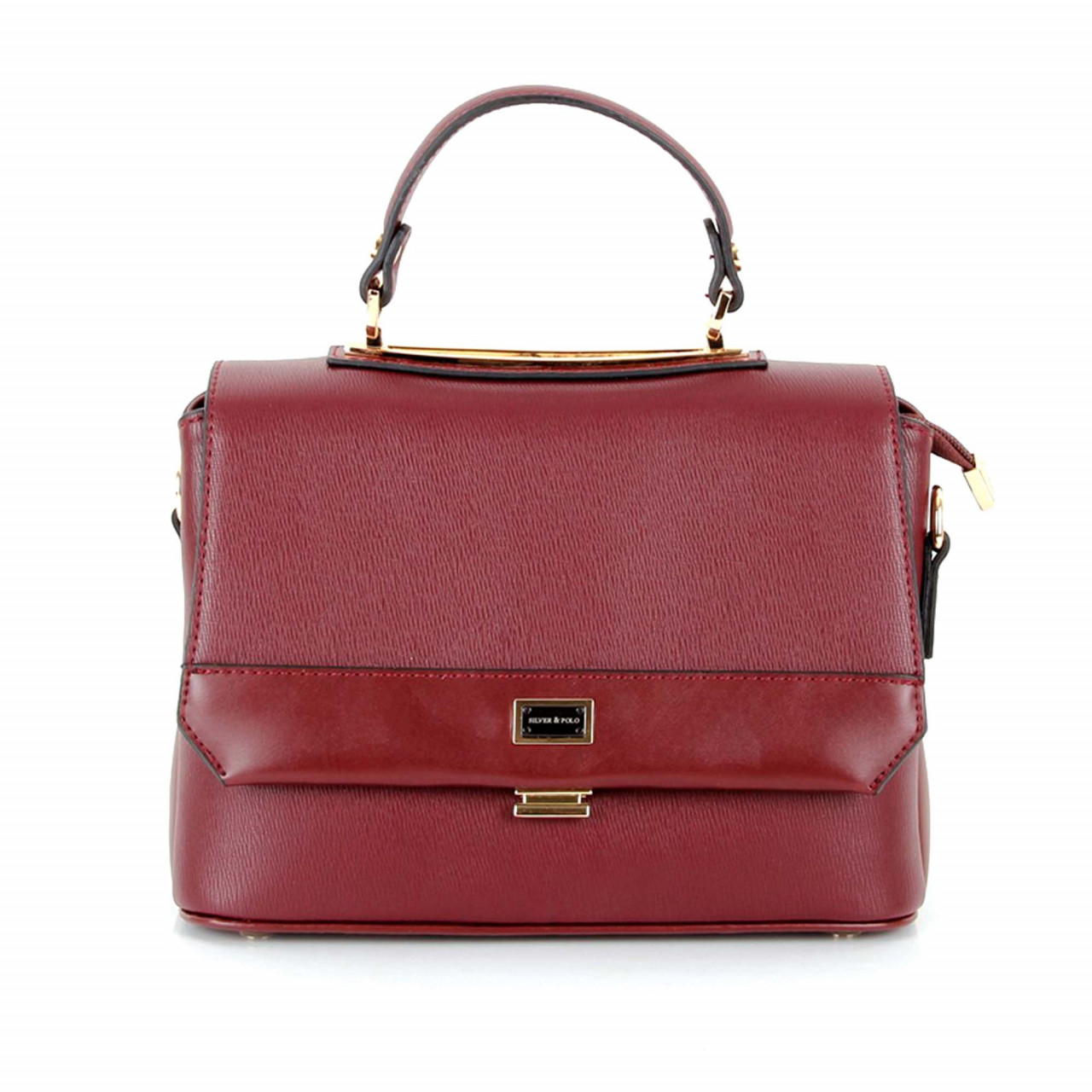 Малка дамска чанта с ръчна дръжка в бордо