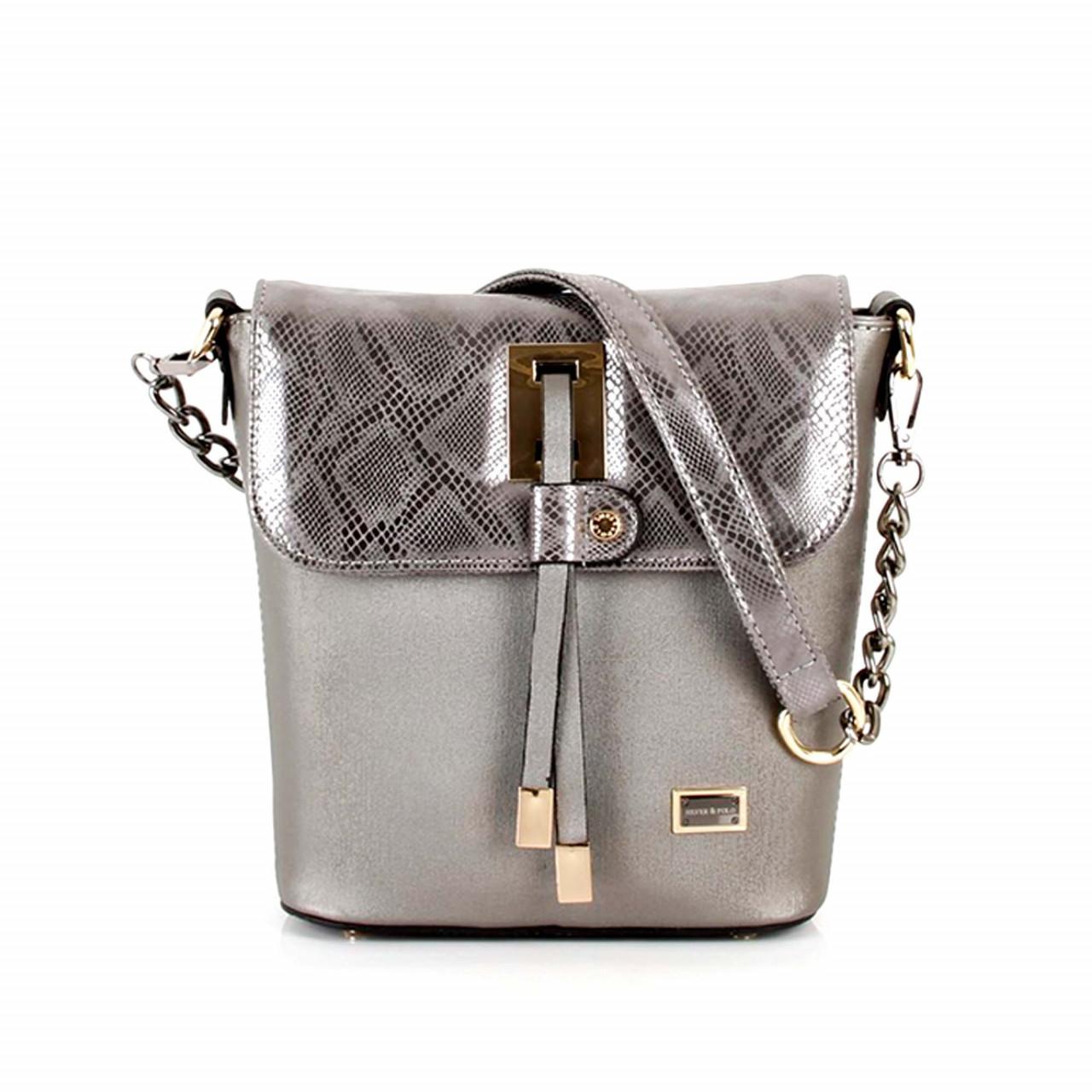 Модерна дамска чанта в сребристо сиво