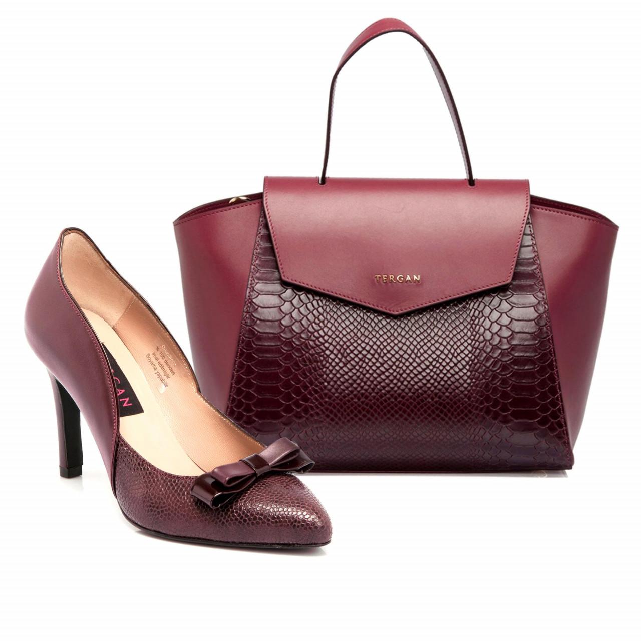 Луксозни дамска чанта и обувки в бордо
