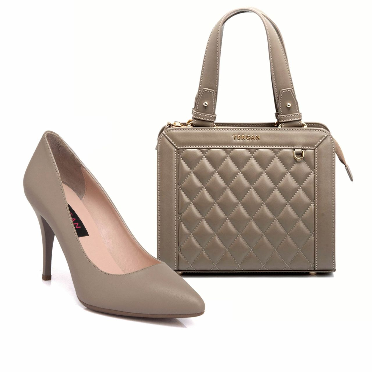 Стилна дамска чанта с обувки в пясъчно сиво