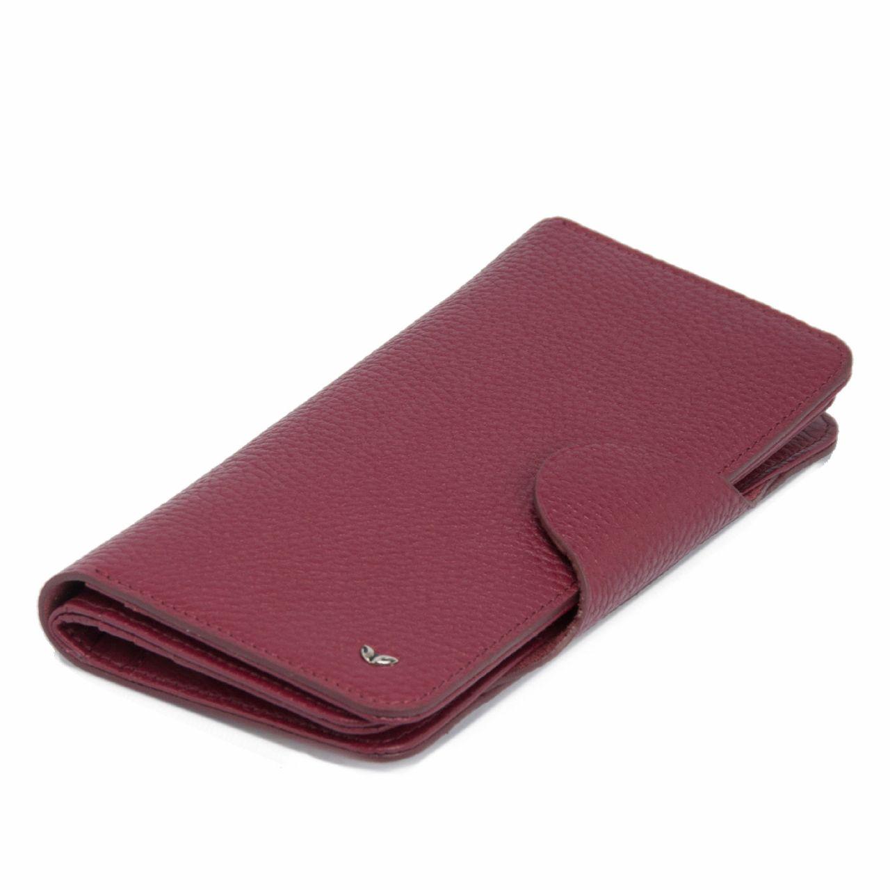 Дамски портфейл от естествена кожа в бордо