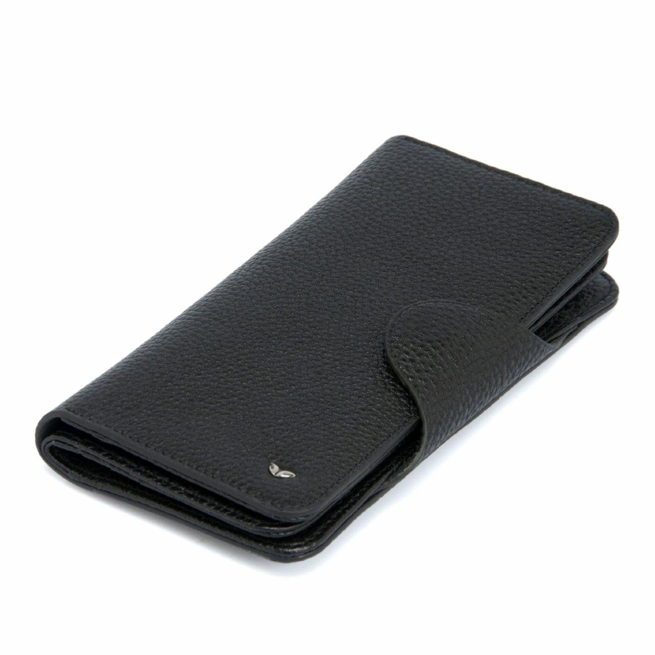 Черно дамско портмоне от естествена кожа