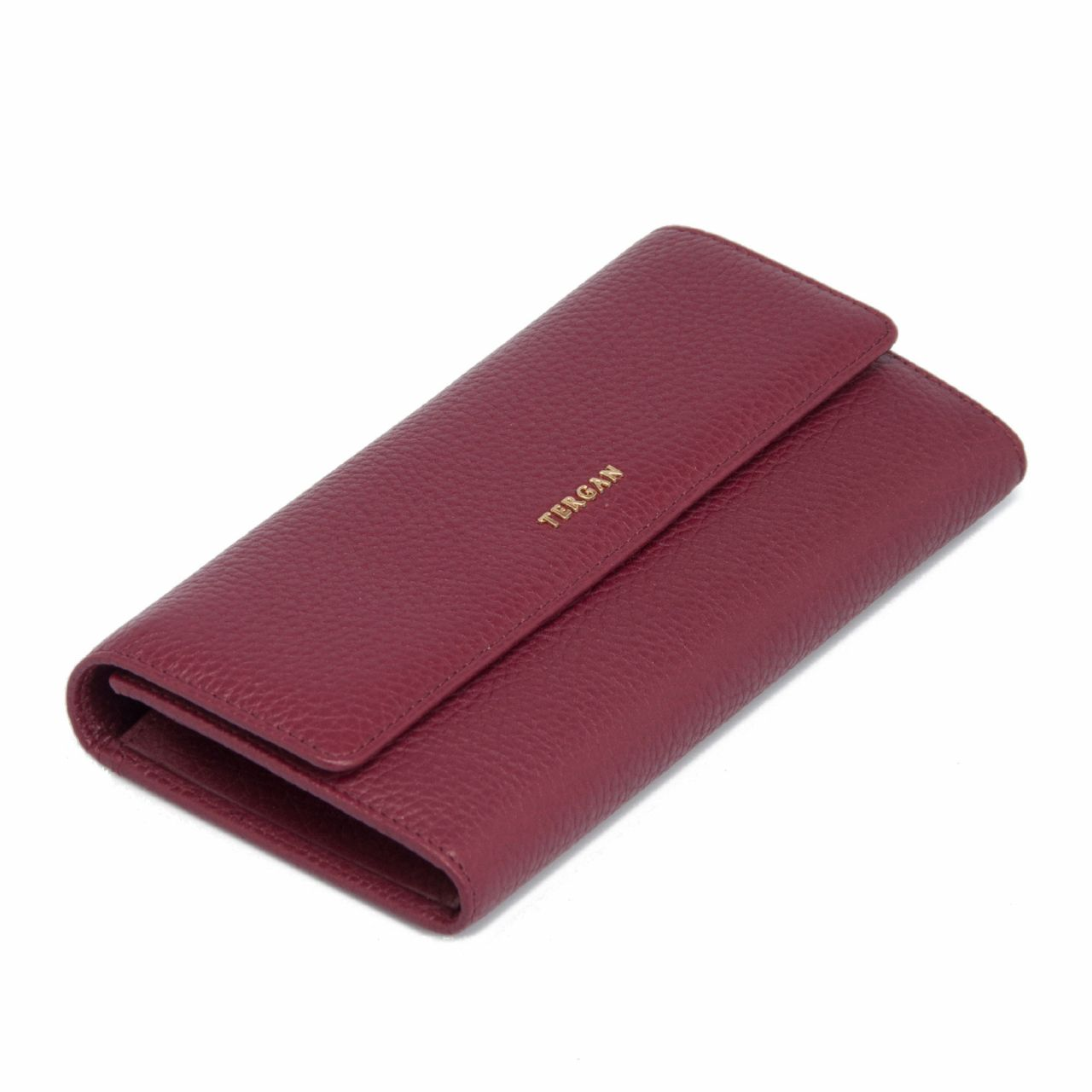Дамско портмоне от естествена в цвят бордо