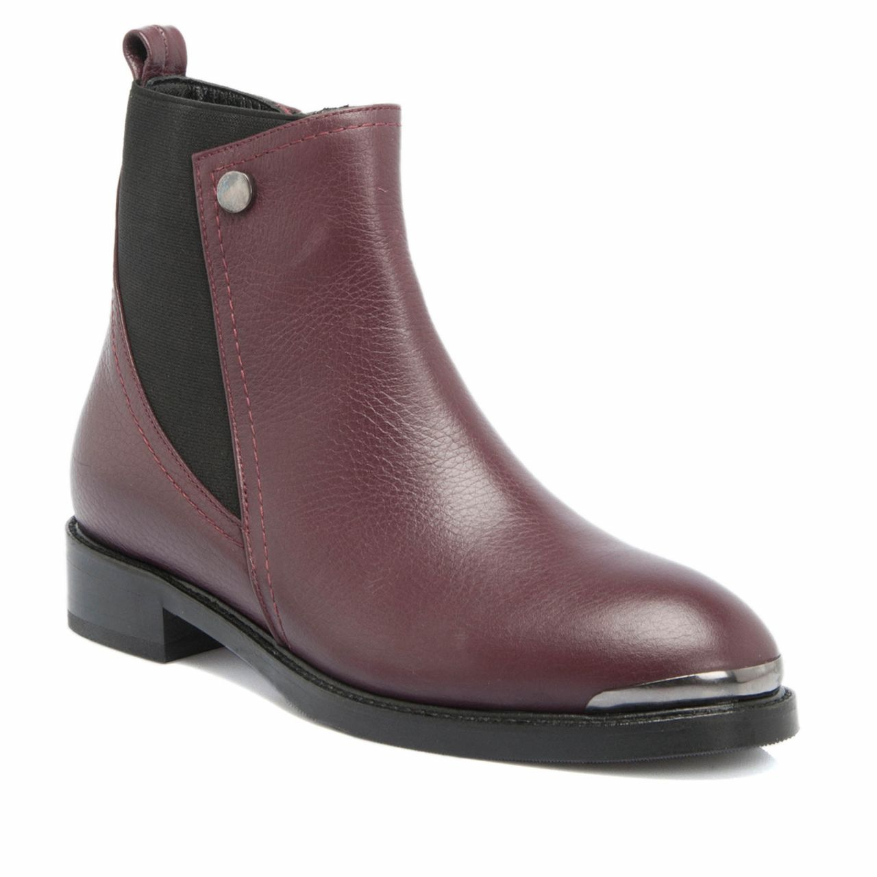 Burgundy Leather Women's Boots
