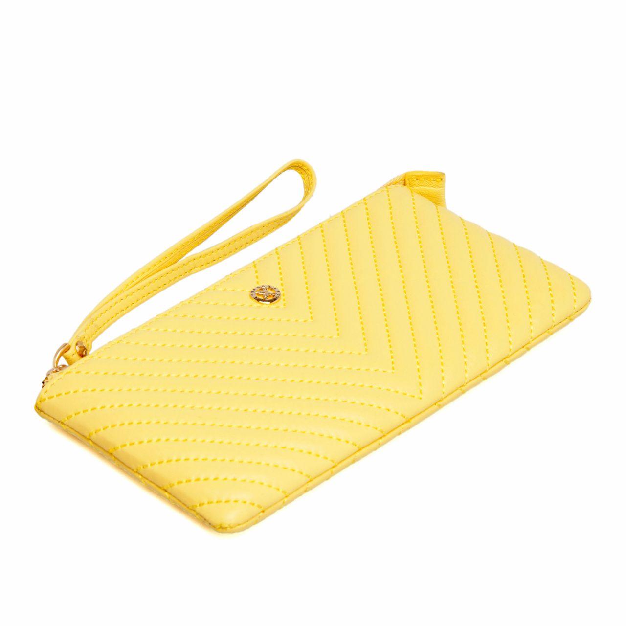 Жълто дамско портмоне - клъч