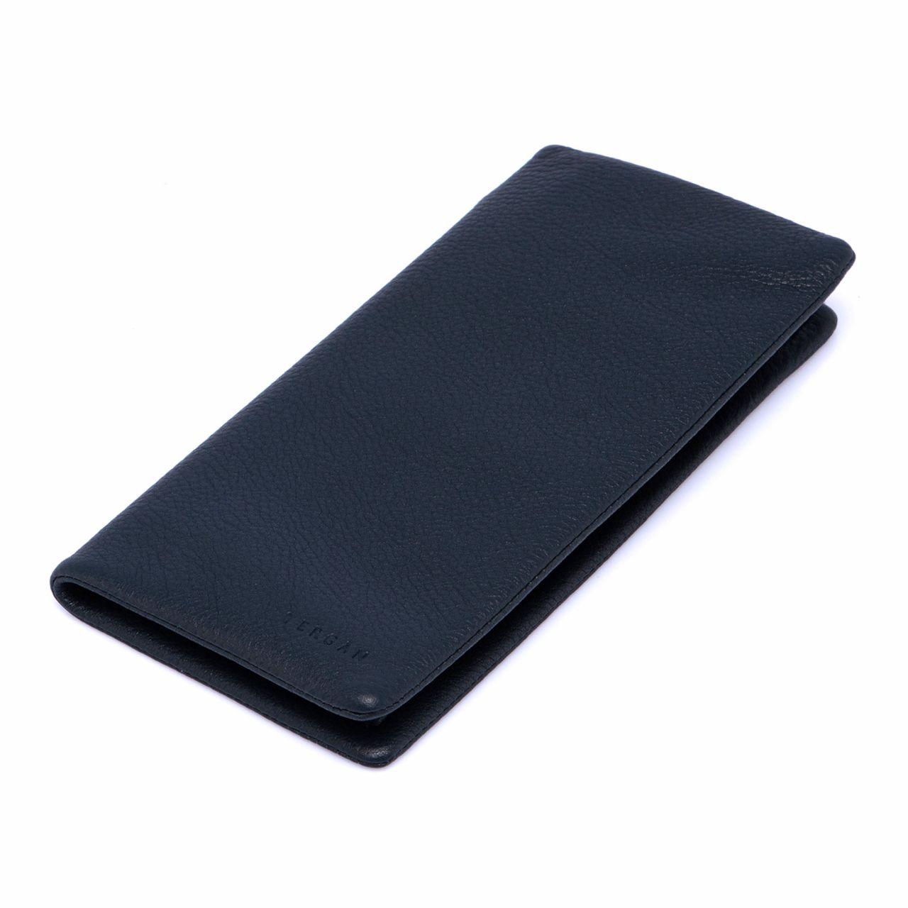 Тъмносин мъжки портфейл от мека естествена кожа