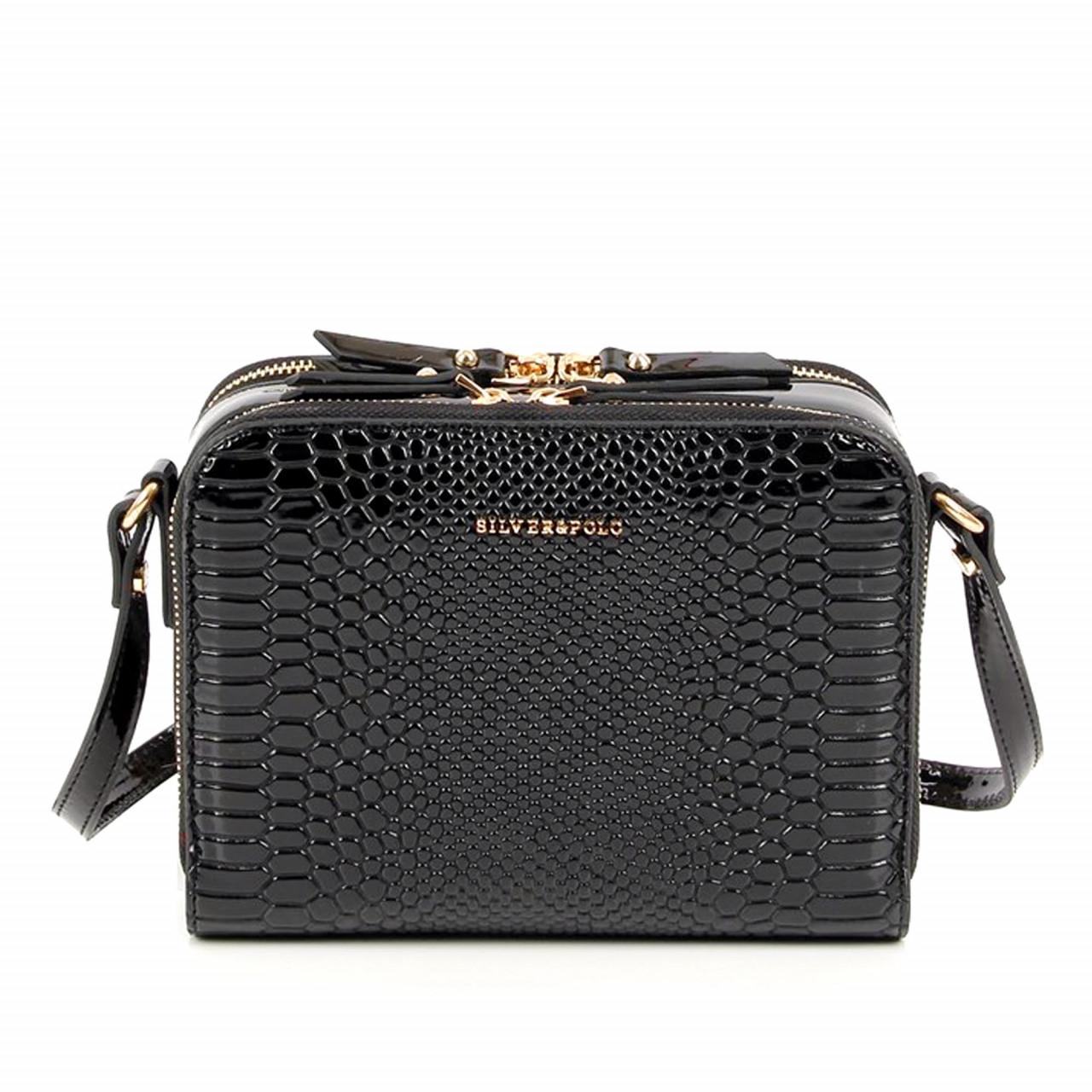 Вечерна дамска чанта в черен лак