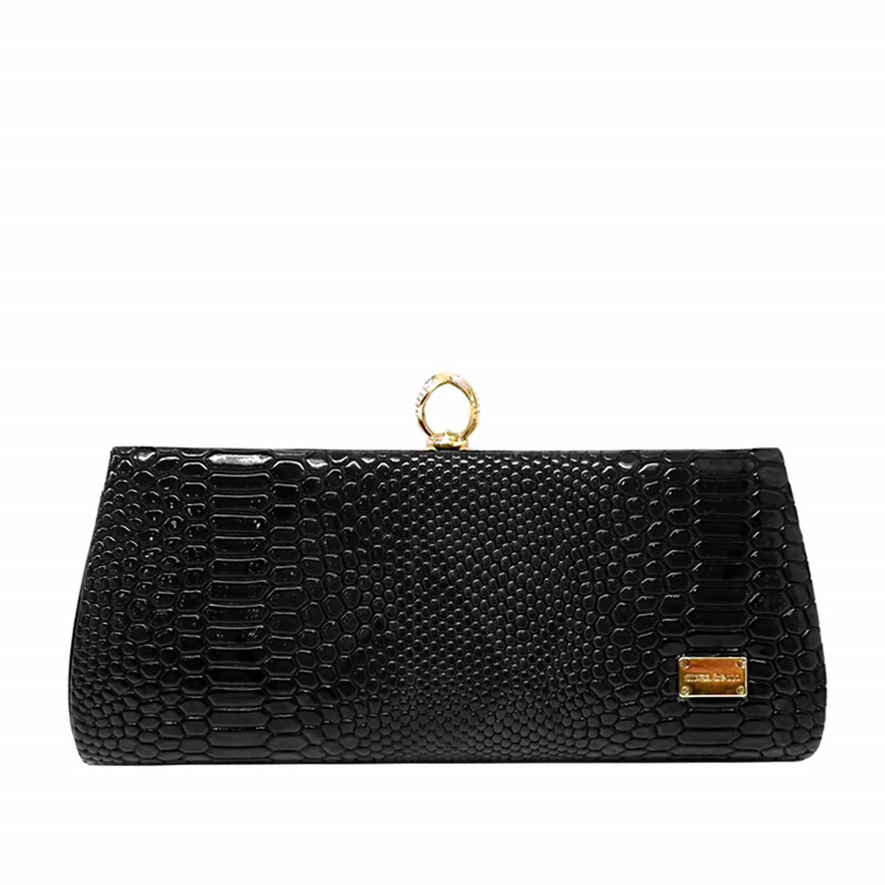 Вечерна дамска чанта черен клъч плик