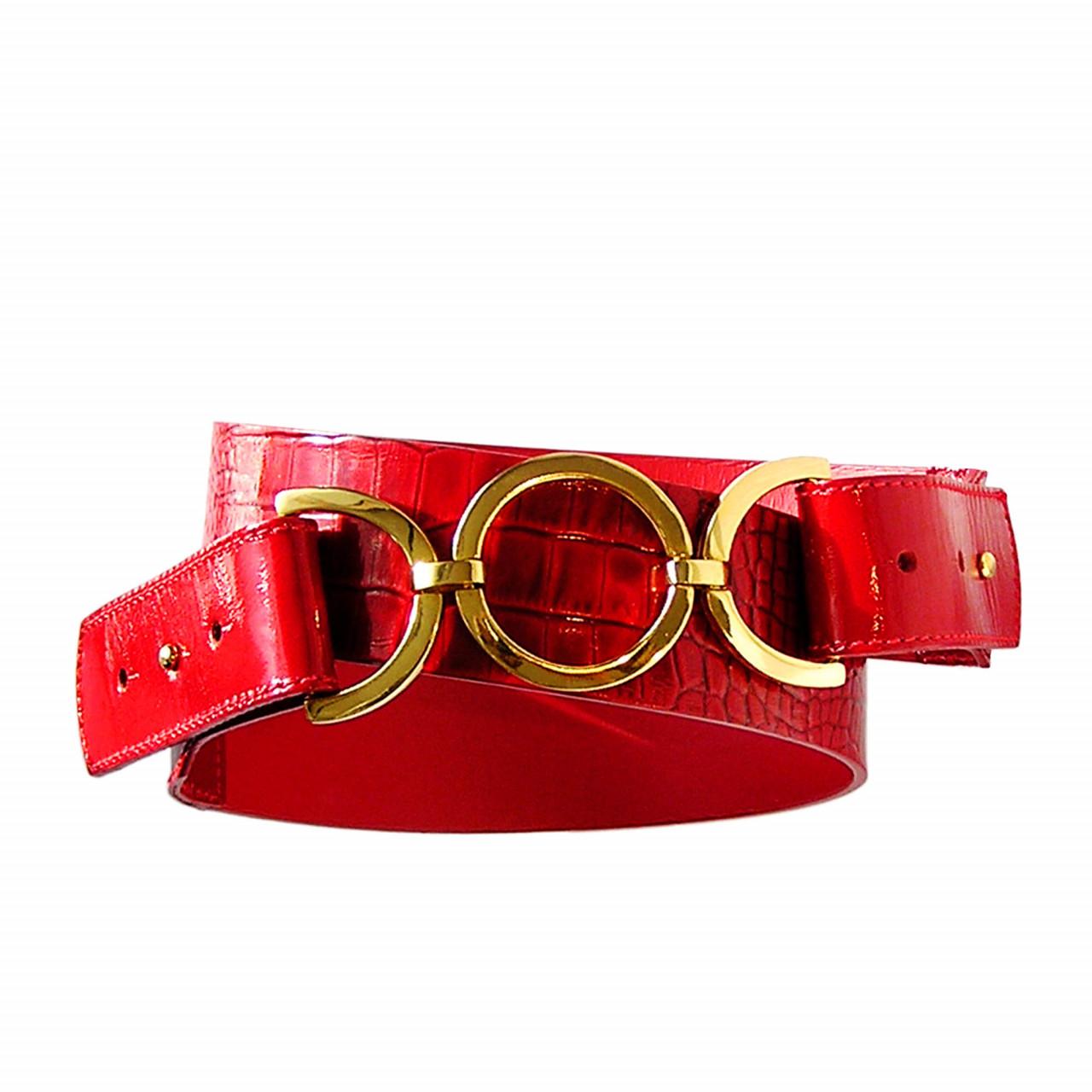 Лачен дамски колан в червено